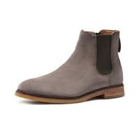 Clarks 其乐 Clarkdale Gobi/克拉克切尔西系列男士皮革套脚低跟短靴261447047 褐灰色39.5
