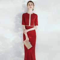 晚礼服裙女2020新款红色高级质感高端气质年会宴会敬酒服新娘结婚