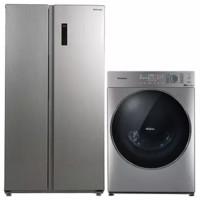 Panasonic 松下 冰箱洗衣机套装 NR-EW57S1-S变频对开门冰箱 570L 尊雅银+XQG100-SD139洗衣机10kg 拉丝银