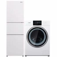Panasonic 松下 冰箱洗衣机套装 NR-JS30AX1-W变频三门冰箱 303L 白色+XQG100-NGA5D洗烘一体机 10kg 白色