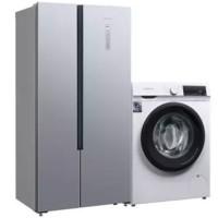 SIEMENS 西门子 冰洗套餐 KX50NA41TI变频对开门冰箱 500L 银色+WN54A1X02W洗烘一体机10kg