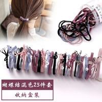 网红ins能当手链的两用发圈头绳女韩版可爱扎头发绳橡皮筋头饰品 16-五色混色25件套