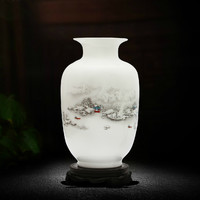欢畅 陶瓷小花瓶摆件 雪景冬瓜瓶+木底座 22*14*9.5cm