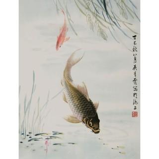 【朵云轩木版水印】吴青霞 鲤鱼水草 中国画装饰画收藏馈赠家居