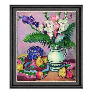 花卉静物油画《菖莆与水果》装饰画挂画 爵士黑 70x61cm