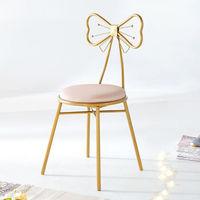 北欧轻奢 化妆椅 四腿款浅粉绒