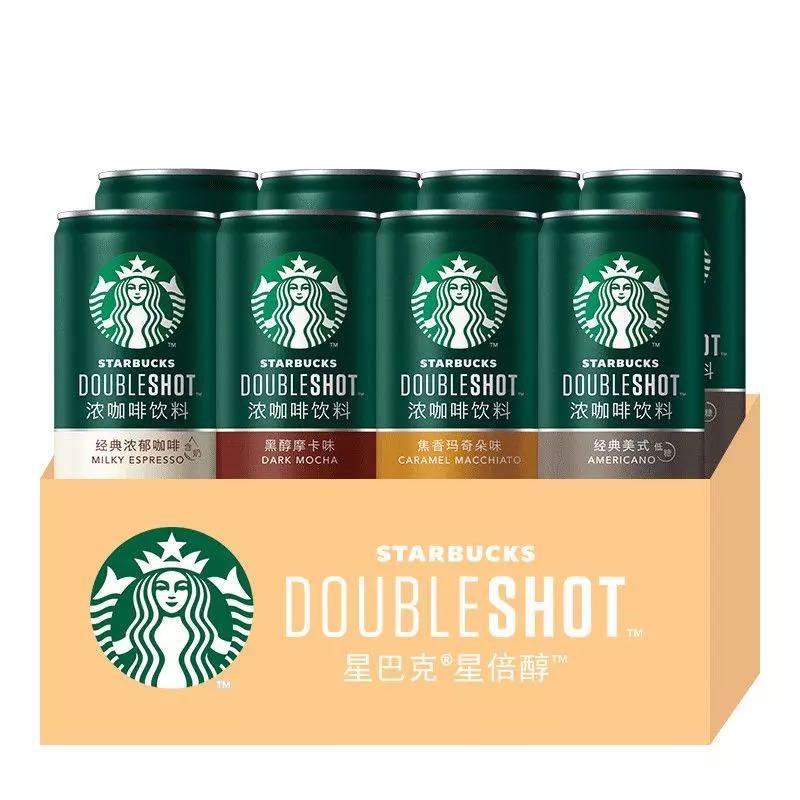 STARBUCKS 星巴克克 浓咖啡经典美式摩卡拿铁饮料 6罐