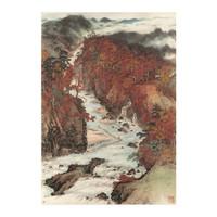 关山月《秋溪放筏图》水墨画国画 背景墙挂画 茶褐色 79×100cm