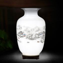 跃洋 陶瓷小花瓶摆件 雪景冬瓜瓶(带底座)25*14cm