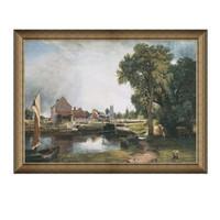 风景油画《德·黑姆的磨坊》康斯坦布尔背景墙装饰画挂画