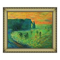 莫奈油画《埃特雷塔的礁石》沙发背景墙装饰画挂画 宫廷金 79×66cm