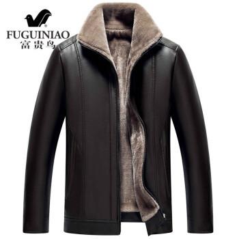 富贵鸟皮衣男加绒冬季新款中年皮毛一体加绒皮衣外套防风保暖加厚