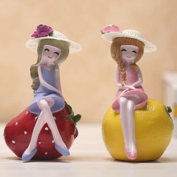 新款水果娃娃田园创意家居装饰品酒柜客厅卧室隔板电视柜摆件摆设 苹果女孩一个
