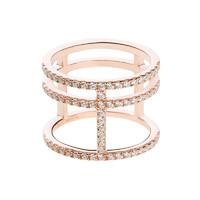 APM Monaco CROISETTE系列 纯银镶晶钻金色工字戒指