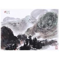 荣宝斋木版水印 国画 傅抱石 风展红旗如画 40*58cm 画片