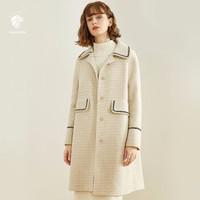 18点开始:FANSILANEN 范思蓝恩 Z95225 女款格子羊毛呢大衣