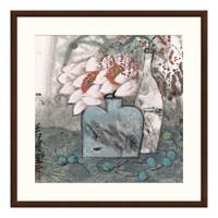 国画水墨画《荷香》袁野 玄沙发背景墙装饰画挂画 茶褐色 88*88cm