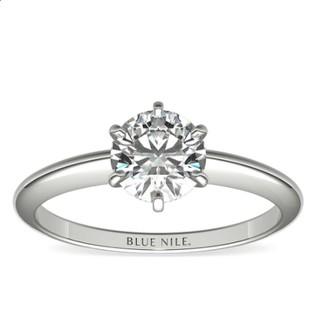Blue Nile 0.92克拉圆形切割钻石(切工理想 成色E 精度VS2)+ 经典6爪铂金戒托