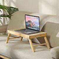 ST实木折叠书桌卧室学习桌床上笔记本电脑桌原木色49x30x20cm