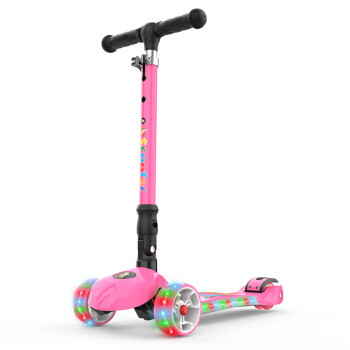 京东PLUS会员:炫梦奇 6631 可折叠有音乐带闪光可调档儿童滑板车 粉色 *2件