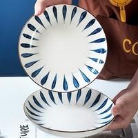 豪然 景德镇日式釉下彩面碗碟 2个装 7英寸