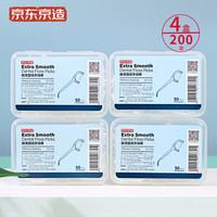 京东京造 超细圆线牙线棒 50支*4盒 + 益生菌牙膏 130g