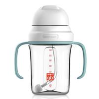 gb好孩子 儿童水杯 宝宝学饮杯 重力球吸管杯 带手柄 240ml 9个月以上(灰绿)方圆系列(京东专供) *4件