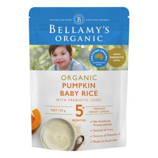 京东PLUS会员 : BELLAMY'S 贝拉米 婴幼儿有机高铁营养辅食南瓜益生元米粉 125g/袋 *5件