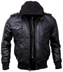 Artistry Leather 男式黑色连帽飞行员皮夹克