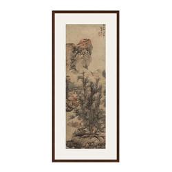 风景国画《秋山渔隐图》蓝瑛 背景墙挂画 茶褐色 74×167cm