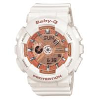 CASIO 卡西欧 BABY-G系列 BA-110-7A1 女士石英手表 43.4mm 玫瑰金盘 白色树脂带 圆形