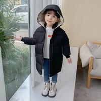 丽格薇尔 2020新款儿童男童中长款 女童冬装韩版 宝宝加厚衣服 黑色 140码