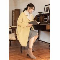 独束毛呢外套女秋冬新款大码显瘦淡黄色气质长款呢子大衣 淡黄色 XL