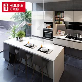 好莱客橱柜定制 UV高光厨柜门亮面整体厨房柜石英石台面定做 原态板 元/延米价