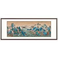 千里江山图 国画 客厅挂画 沙发背景墙办公室 仿古画 宽240*高90cm