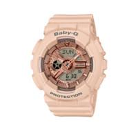 CASIO 卡西欧 BA-110系列 BA-110CP-4A 43.4mm 女士石英手表 金盘 粉色树脂带 圆形