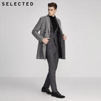 暖爱季:SELECTED 思莱德 419427553 含羊毛条纹毛呢大衣