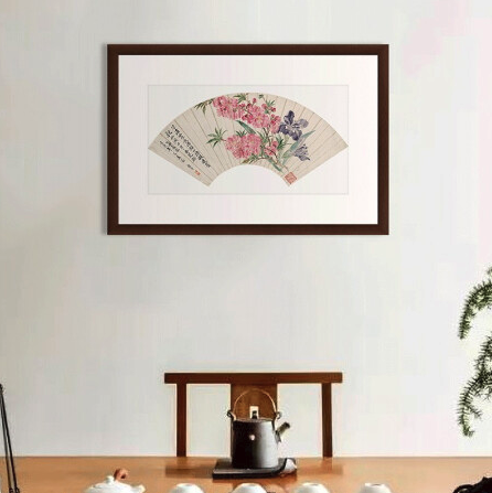 水墨画《桃花图》恽寿平 背景墙装饰画挂画 原木色 77×52cm