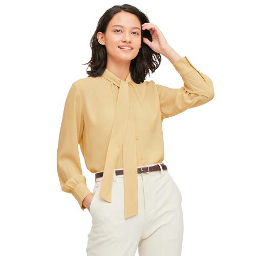 UNIQLO 优衣库 女士纯色蝴蝶结领长袖衬衫433789