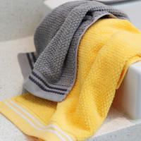 三利 纯棉A类毛巾2条装 34×72cm 高毛圈洁面巾 柔软舒适强吸水洁情侣毛巾 100g/条 玉米黄+灰色