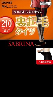 GUNZE SABRINA Warm+系列 240D加绒加厚打底袜