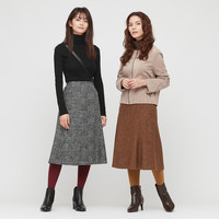 UNIQLO 优衣库  429214 女装羊毛混纺喇叭裙