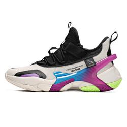 361度男鞋2020春季新款篮球鞋网面运动鞋 奶油色/曜石黑 43