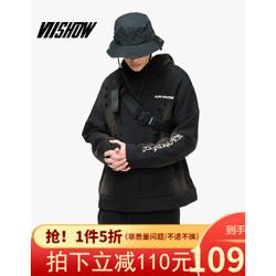 VIISHOW2020春季新款卫衣男 套头连帽男士潮牌个性破洞外套学生装 WD1020191 黑色 XXL