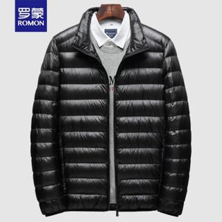 京东会员:罗蒙短款羽绒服男士轻薄款羽绒外套2020冬季简约纯色白鸭绒男士立领羽绒服LM8WYR8006 黑色 XL