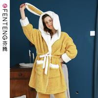芬腾睡衣女冬珊瑚绒韩版可爱少女加厚羊羔绒家居服长袖连帽款套装