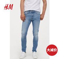 HM 男装裤子 2020春装新款 中腰紧身弹力牛仔裤0730863__5