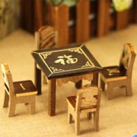 衾美 木质迷你八仙桌 一桌四椅