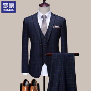 罗蒙(ROMON)西服套装男士西装2020休闲正装职业装新郎结婚礼服伴郎服 2XF971908-1 藏青橘格三件套 L