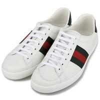 超值黑五:GUCCI 古驰 白色牛皮条纹平底鞋